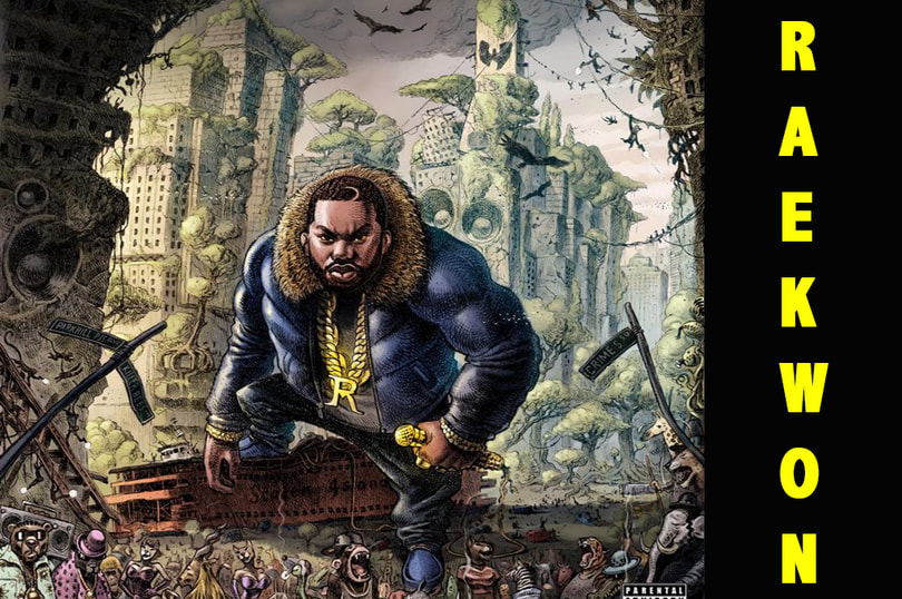 Raekwon album cover art features a graphic novel esque design or the artist in a post apocalyptic world. ©YouTube